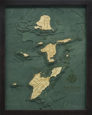 "Bass Islands / Put-in-Bay, Ohio 3-D Nautical Wood Chart, Small, 16"" x 20"" BASS-D1S"